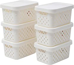 Citylife Small Plastic Storage Baskets with Lid Stackable Lidded Storage Organizer Bins, Off-White 6 Pack