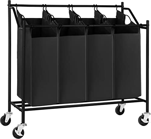SONGMICS Rolling Laundry Cart Sorter Basket Hamper, with 4 Removable Bags, Casters and Brakes, Black
