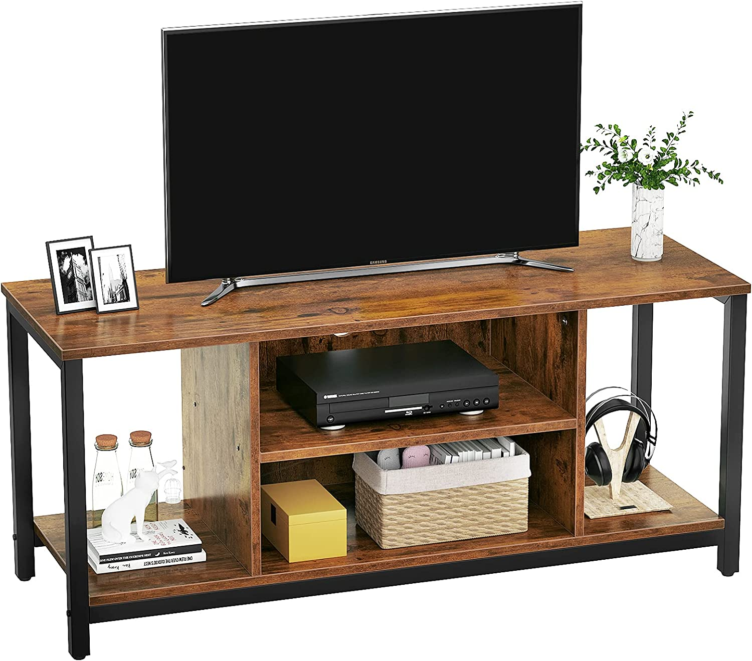 Aheaplus TV Stand TV Cabinet for TV up to 50 In 3 Tier Mid Century Modern TV Stand with Shelving Storage Entertainment Center TV Console Retro Industrial TV Stand for Living Room Bedroom, Rustic Brown
