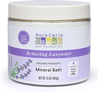 Aura Cacia Aromatherapy Mineral Bath, Relaxing Lavender, 16 ounce jar (Pack of 2)