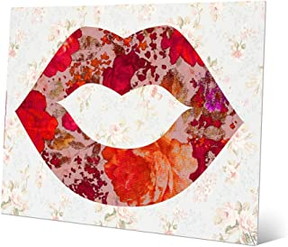 Floral Lips: Pop-Art Kiss Lips on Distressed Lace Flower Cabbage Rose Wallpaper Fabric-pattern for Girls Bedroom Bathroom Wall Art Print on Metal