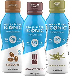 Iconic Protein Drinks, Sample Pack (3 Flavors) | Low Carb Protein Shakes with Zero Sugar | Lactose-Free, Gluten-Free, Soy-...