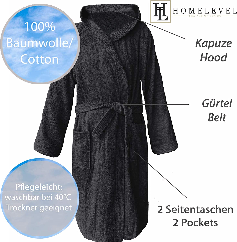 HOMELEVEL Frottee Bademantel 100/% Baumwolle Frauen M/änner Damen und Herren