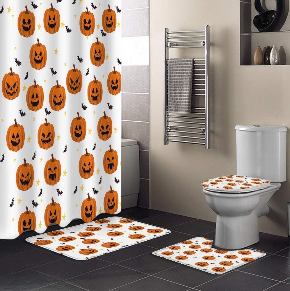 4 Piece Shower Curtain Soldering Sets Non-Slip Elegant Halloween Toil Include Rug