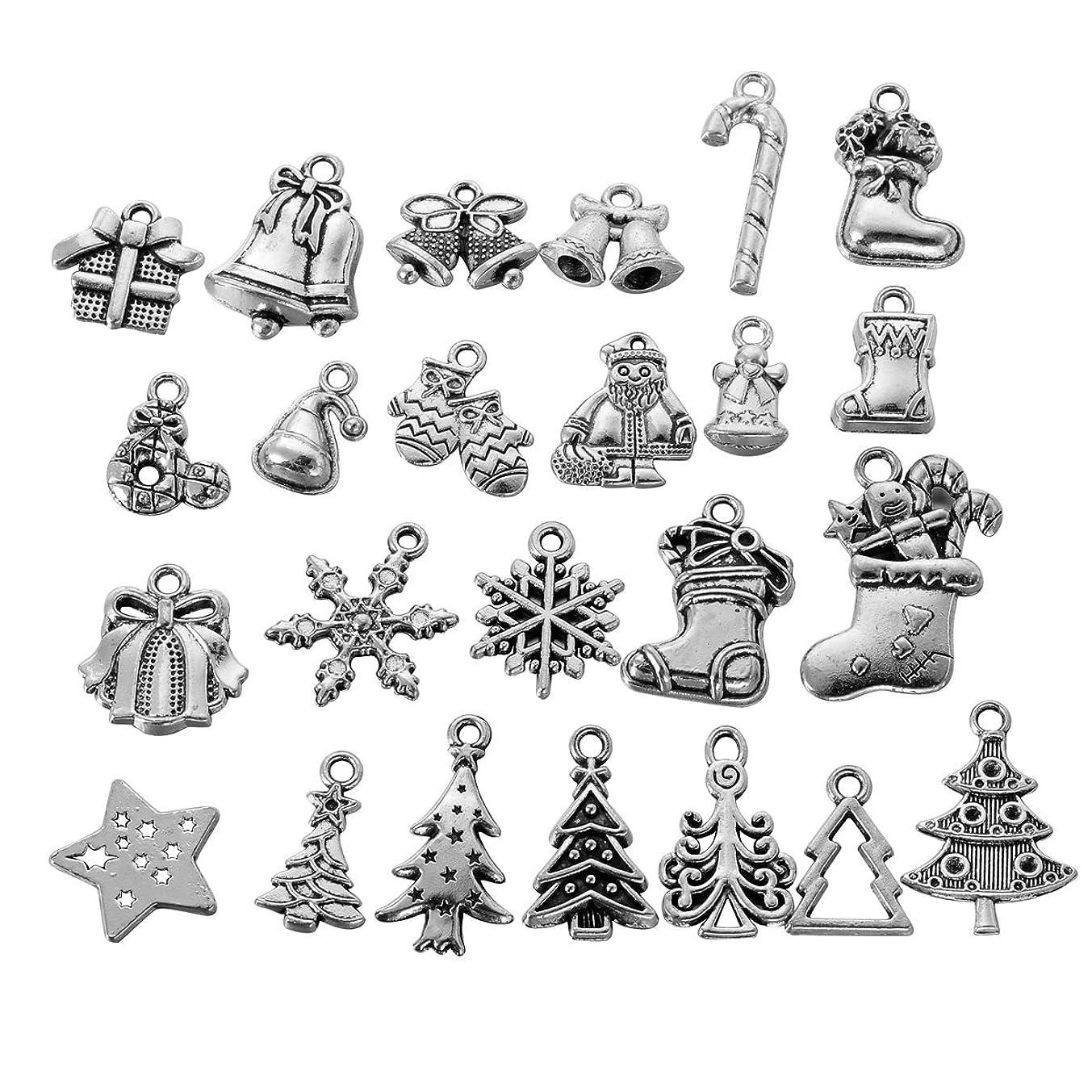 HOUSWEETY 24PCs Mixed Christmas X-mas Charm Pendants
