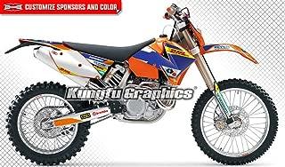 Kungfu Graphics Custom Decal Kit for 125 150 250 300 SX XC 2011, 125 200 250 300 400 450 525 EXC EXC-F EXCF XCW XC-W XCF-W 2005 2006 2007, White Blue Orange, Style 002