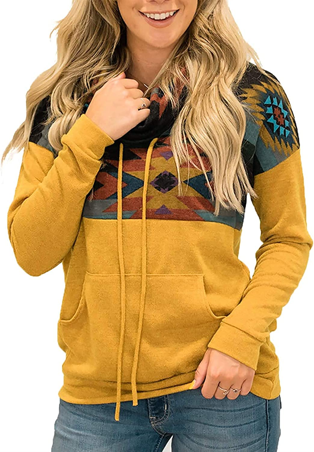 Women Casual Long Sleeve Aztec Sweater Color Block Western Sweatshirts Pullover Hoodie Tunic Tops with Pockets