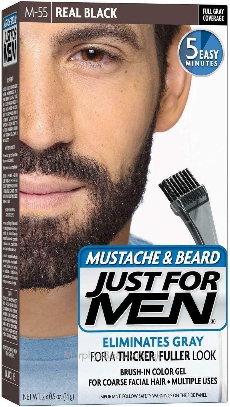 Just For Men - Tinte para bigote y barba, M55 Real Black