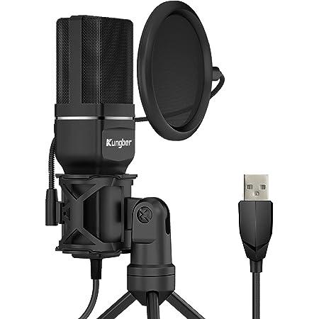 Kungber Pc Mikrofon Usb Kondensator Microphone Plug Play Mikro Für Computer Mac Desktop Musikinstrumente