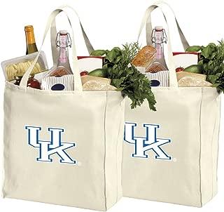 Reusable University of Kentucky Shopping Bags or Kentucky Wildcats Grocery Bag 2Pc Set Natural Cotton