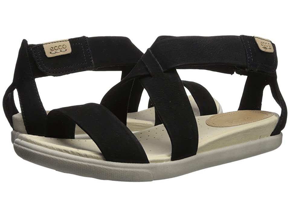 ECCO Damara Casual Sandal (Black Cow Nubuck) Women