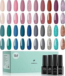 TOMICCA Gel Nagellak Set 20 Kleuren Gel UV Nagellak Roze Blauw Groen Tinten Gel Nagels Glitter UV Gel Polish met Base Coat...