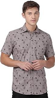 Zeal Floral Printed Cotton Slim Fit Half Sleeves Shirt for Men Grey