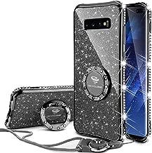 Cute Galaxy S10 Plus Case, Glitter Bling Diamond Rhinestone Bumper with Ring Grip Kickstand Protective Thin Girly Black Samsung Galaxy S10+ Plus Case for Women Girl - Black