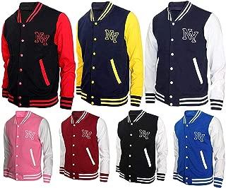 Aus Eshop Men's NY New York College Boys Baseball Varsity Letterman Fleece Bomber Jacket