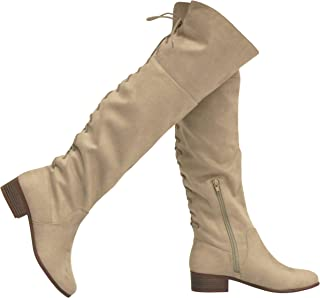 Amazon.com: Women's Over-the-Knee Boots - Beige / Over-the-Knee / Boots:  Clothing, Shoes & Jewelry