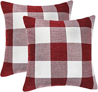 GirlyGirl Boutique Farmhouse Decorative Buffalo Check Plaid Pillow Covers Red and White Classic Linen Throw Pillow Covers for Couch, Bed, Sofa,Pack of 2(18 x 18 Inch)