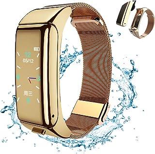 KXHWSH Smartwatch Auriculares Bluetooth 2 en 1 Fitness Tracker Contesta la Llamada Escuchando Musica Monitorización de la Frecuencia Cardíaca Podómetro para Mujer y Hombre