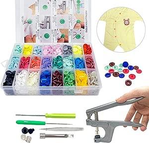 SUNTATOP 360 Sets Plastic Buttons Fasteners Snap Button Snap Plier Kit for All Kinds Clothes DIY 24 Colors  Plier for T3  T5  T8
