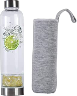AMOYSTONE Crystals Stone Water Bottles with Protective Sleeve 500ml Citrine