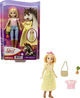 Mattel Spirit Untamed Abigail Doll (Approx.7-in), 2 Fashion Outfits, Purse & Horse-Themed Accessory, 7 Movable Joints, Great Gift for Ages 3 Years Old & Up