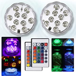 KKTAU Submersible Led Pond Lights,Set of 4 144 LEDs Underwater Pool Fountain Waterfall Lights Color Changing Lamp with Remote Control