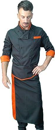 Uniforme de Cocinero, Chaqueta pantalón y Delantal, para Hombre, Camisa de Cocinero, Uniforme de Cocina, Negro y Naranja, Made in Italy