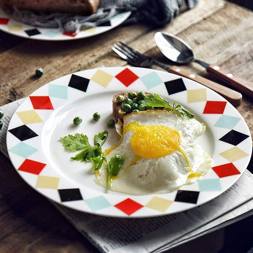 バラ色抜け目のない可能LXX-プレート 北欧色三角形西洋料理ホテル食器フラットプレートスーププレートライスボウルサラダ/シリアルボウル (サイズ : 25.5x25.5cm)