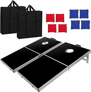BBBuy Foldable Cornhole Toss Bean Bag Game Set MDF Board with Aluminum Frame (4FT x 2FT)