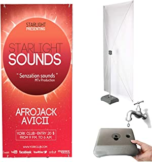 HUAZI X Banner Stand with Water Base - Vinyl Banner Stand Display Fit Banner Size 31.5 x 71 inches with Traveling Bag for Outdoor Indoor