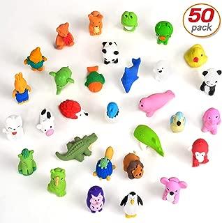 Yo-fobu 50 Pcs Pencil Erasers Animal Erasers 3D Cartoon Custom Shape Eraser Collection Party Favors Classroom Prizes   Carnival Gifts School Supplies