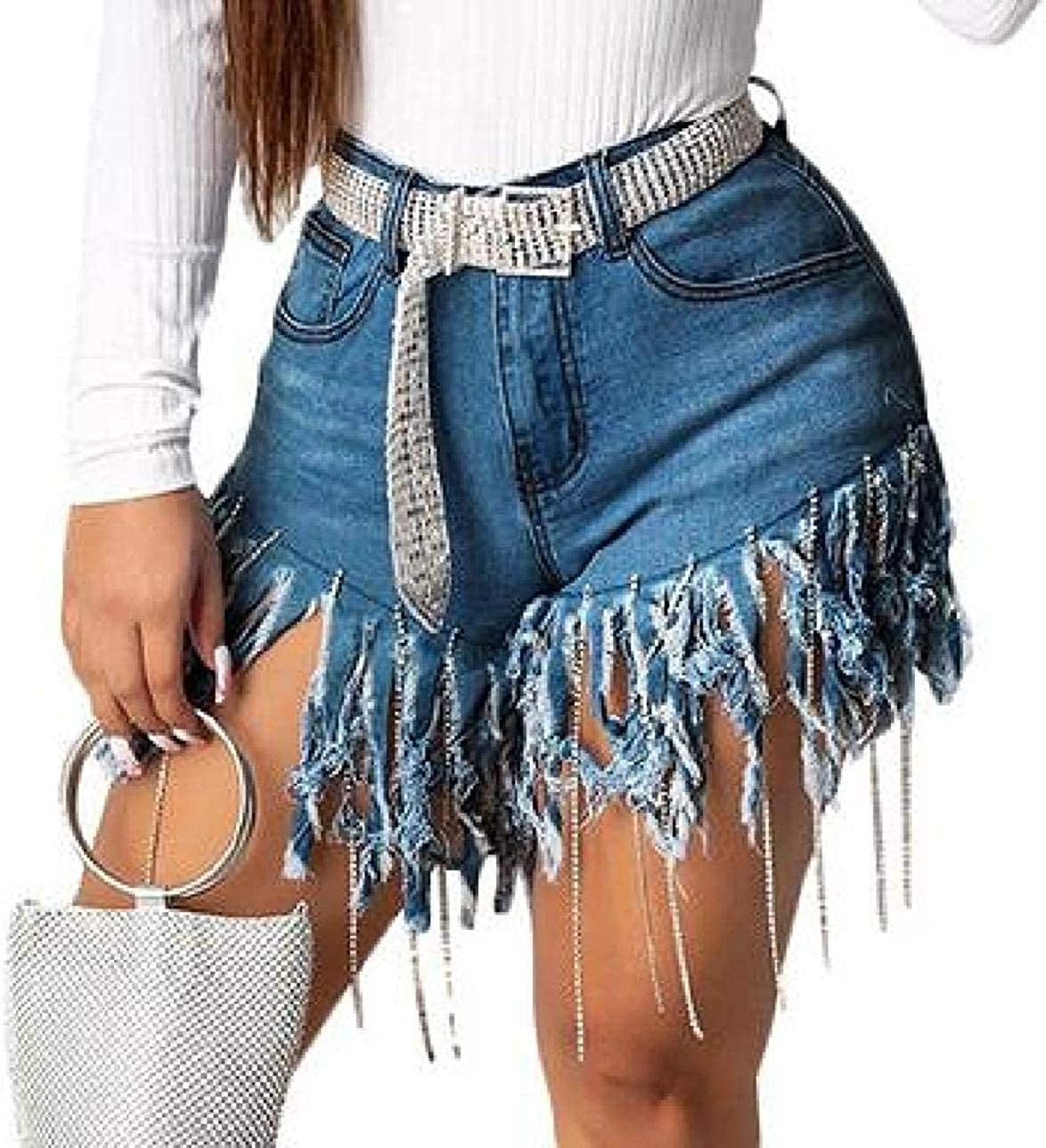 Womens Flat-Front Mid Waisted Bodycon Casual Hot-Drill with Tassles Denim Shorts Jeans Hot Pants