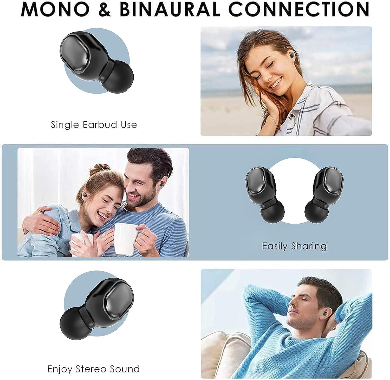 Bluetooth Earbuds Wireless Headphones 24H Playtime IPX5 Waterproof in-Ear Earphones Built-in Mic Earphones Headsets with Charging Case (Black) (Black)