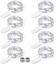 8er 20 LED Lichterkette Batterie Micro Kupferdraht Lichterkette 2M Silber Batteriebetriebene Lichterkette Hochzeit Party Weihnachten Tisch Flasche Dekoration mit Weiteren 8 Stück Batterie, Kaltweiß