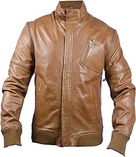 Chameleon Zip-Off Burnt Caramel Men's Bomber Leather Jacket, Light Brown - Extra Small