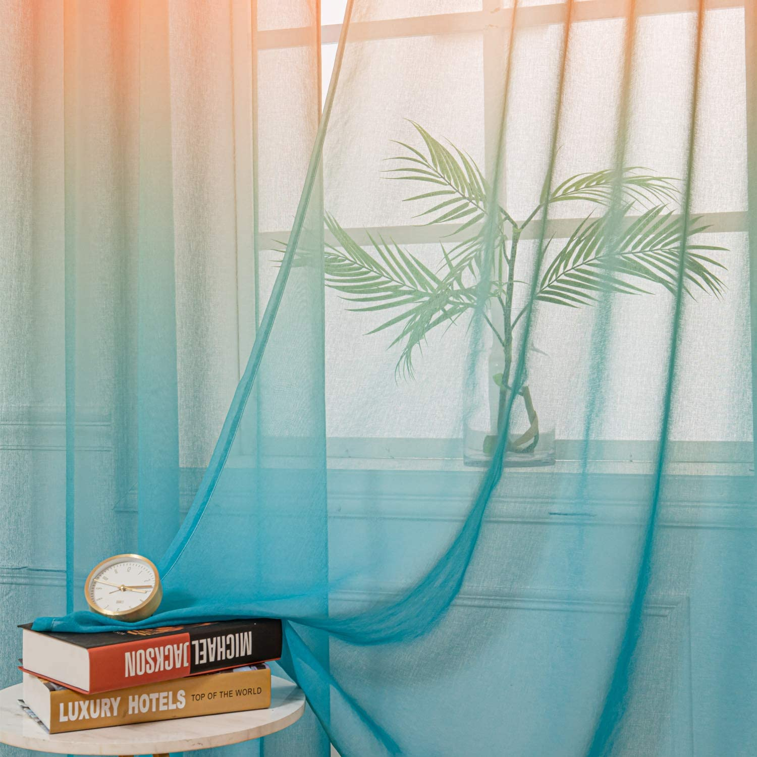 STFLY Ombre Sheer Curtains for Living Room 2 Panels Faux Linen Semi Sheer Curtain Gradient Voile Grommet Top Drapes for Bedroom Kids Boys Girls Room 52 W x 84 L, Green and Purple