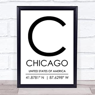 Chicago United States of America Coordinates Travel Quote Wall Art Print
