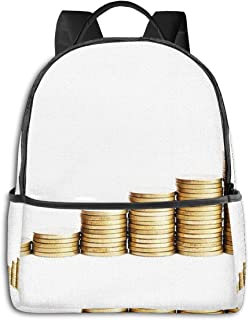 Mochila Tipo Casual Mochila Escolares Mochilas Escolar Estilo Impermeable para Viaje de Ordenador Portátil para Hombre Mujer Bank Stack Coins