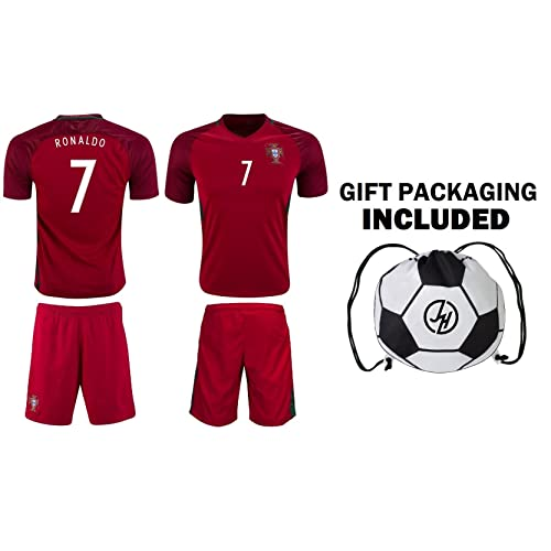 b39509234 JerzeHero Portugal Ronaldo  7 Kids Youth Soccer Gift Set ✓ Soccer Jersey ✓  Shorts ✓