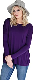 Women's Bamboo Long Sleeve Top, Comfy Basic Dolman Style T-Shirt with Oversized Fit - 24 Colors Available