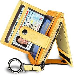Womens Slim Minimalist RFID Card Holder Front Pocket Wallet,Ladies Mini Coin Purse With Keychain