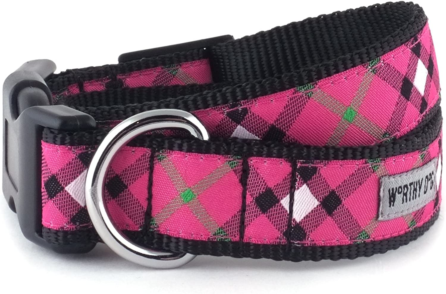 Bias Plaid Hot Pink Collar, Hot Pink, L