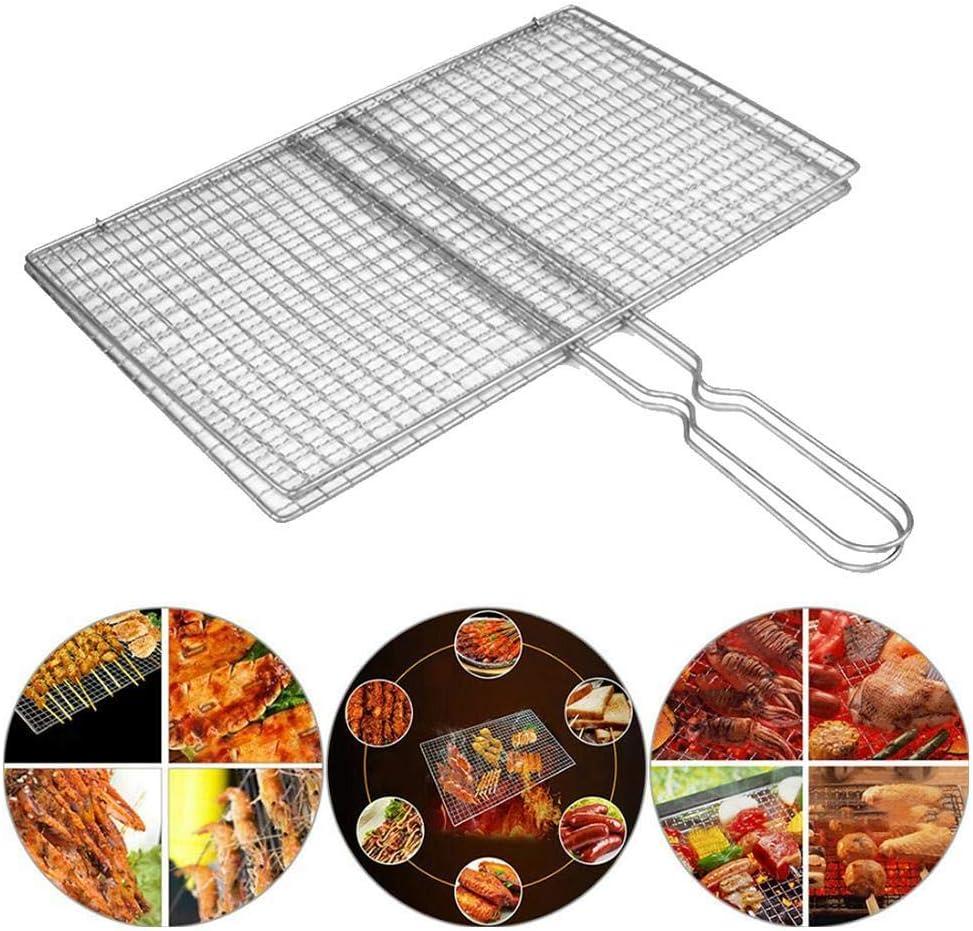 Linklang, outil de pique-nique, filet de barbecue en acier inoxydable, convient pour jardin, camping, barbecue, poisson, viande, steak, maïs, légumes 35 x 19 cm. 40 x 21,5 cm.