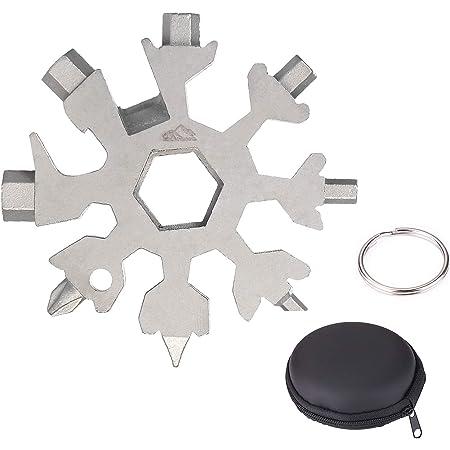 Pack de 2, Argent Outil Flocon Neige Outil multifonction en acier inoxydable 18-en-1,portatif Porte-cl/és Tournevis Ouvre Bouteille Outil Venez avec bo/îte-cadeau