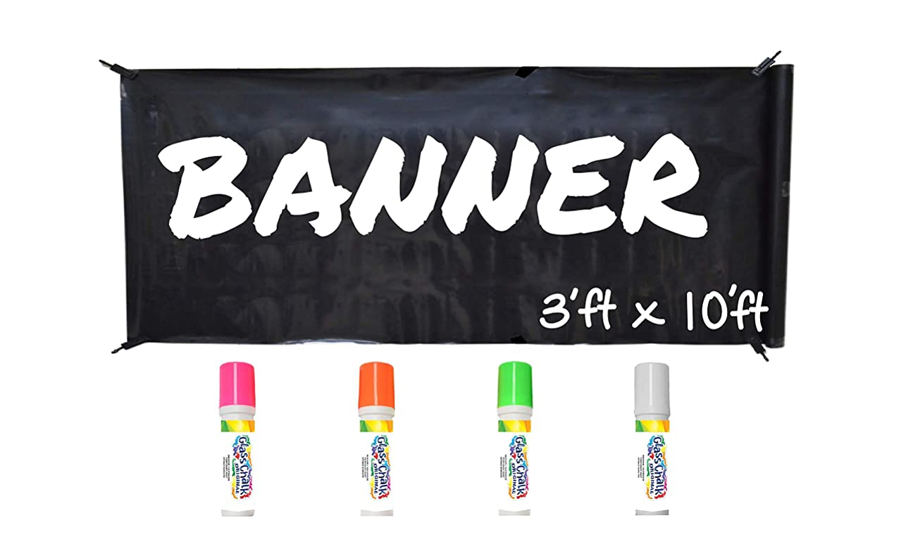 Chalk Markers WHATUP Banner Kit by Glass Chalk - 1 Black Blank Banner, 4 Clips, Rope, 4 neon Color Markers