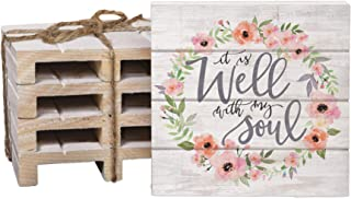 It Is Well With My Soul Floral Wreath 4 x 4 Inch Dried Pine Wood Pallet Coaster, Pack of 4