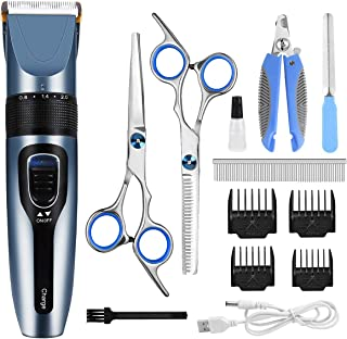 Dog Clippers, Professional Pet Grooming Kit Rechargeable Cordless Dog Shaver Pet Electric Clippers Low Noise Dog Hair Trimmer with 4 Comb Guides Scissors Nail Kits for Dogs Cats and Other Hairy Pets