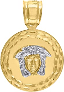 10k Gold Yellow and White Two tone Diamond-cut Mens Vercase Medusa (Ht:31mm x W:20mm) Charm Pendant