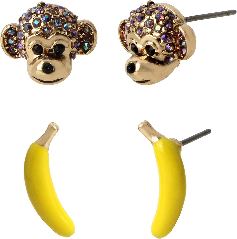 Betsey Johnson Monkey Duo Stud Earrings Set