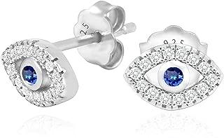 925 Sterling Silver Cubic Zirconia Mini Evil Eye Jewish Post Stud Earrings